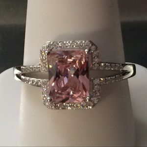 Jewelry - Pink and White Stone Sterling Silver Ring